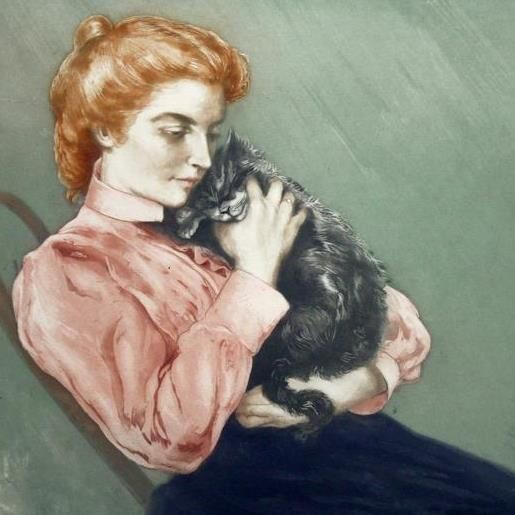 Jeune-femme au chat. (Charles Maurin)
