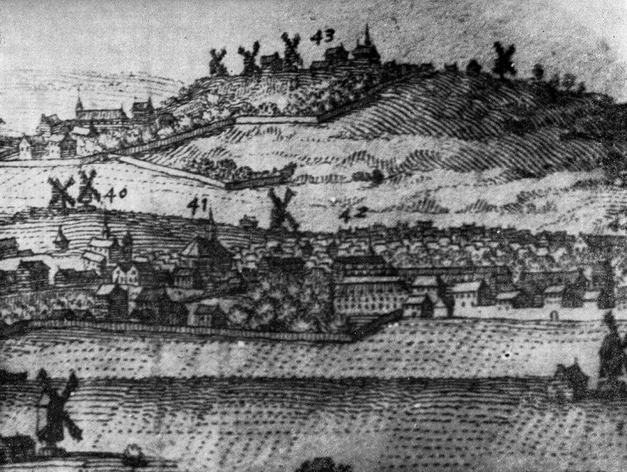 La butte au XVIIème sècle. A l'extrême droite, notre moulin de la Lancette.