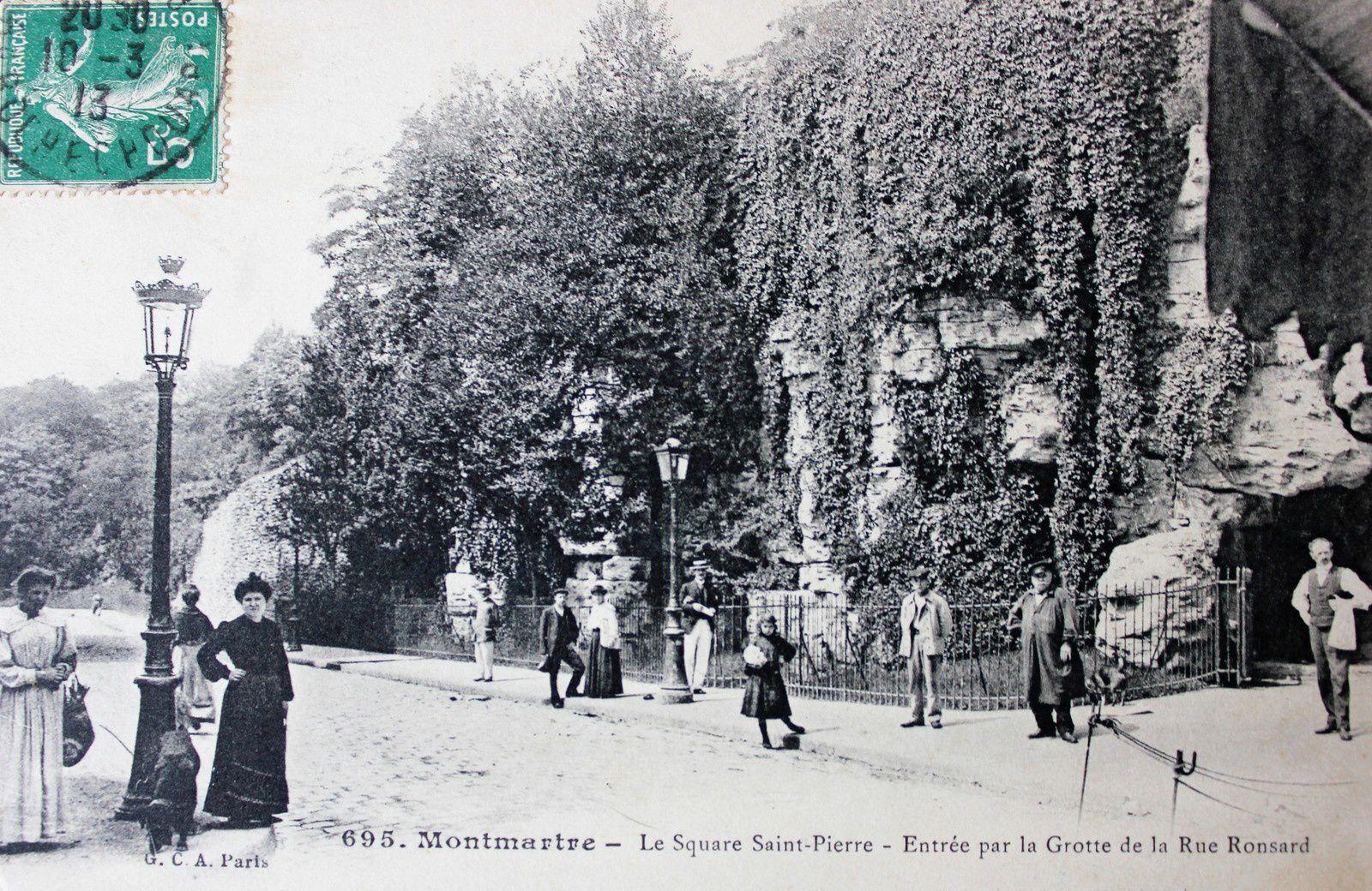 Rue Ronsard. Montmartre. Grotte. Cuvier. Halle saint Pierre.