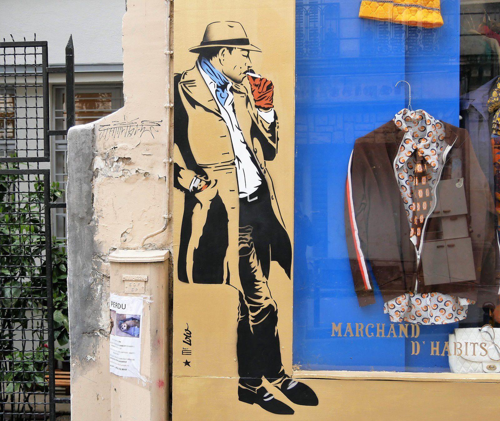 Street art. Montmartre.  Mars Avril 2017. Codex Urbanus, Jae ray Mie, Levalet....