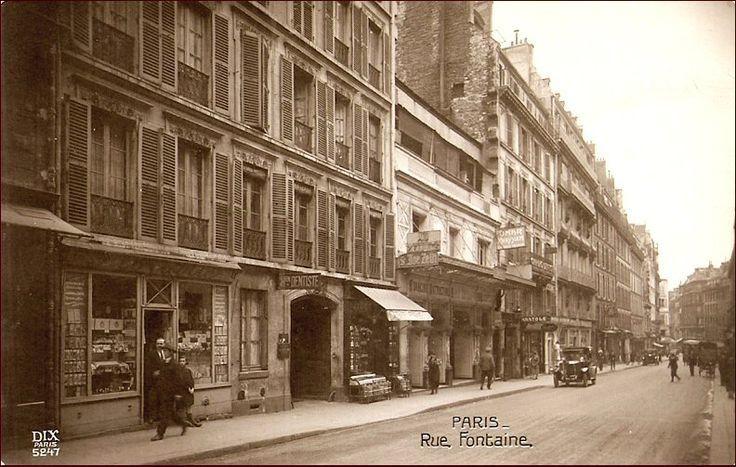 Début de la rue Fontaine : En partant du 1er plan : les 10-8-6-4 et 2.