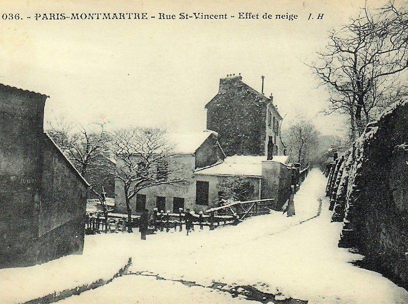 La neige à Montmartre. Neiges d'antan et neiges d'aujourd'hui. Le passé et l'hiver 2018.