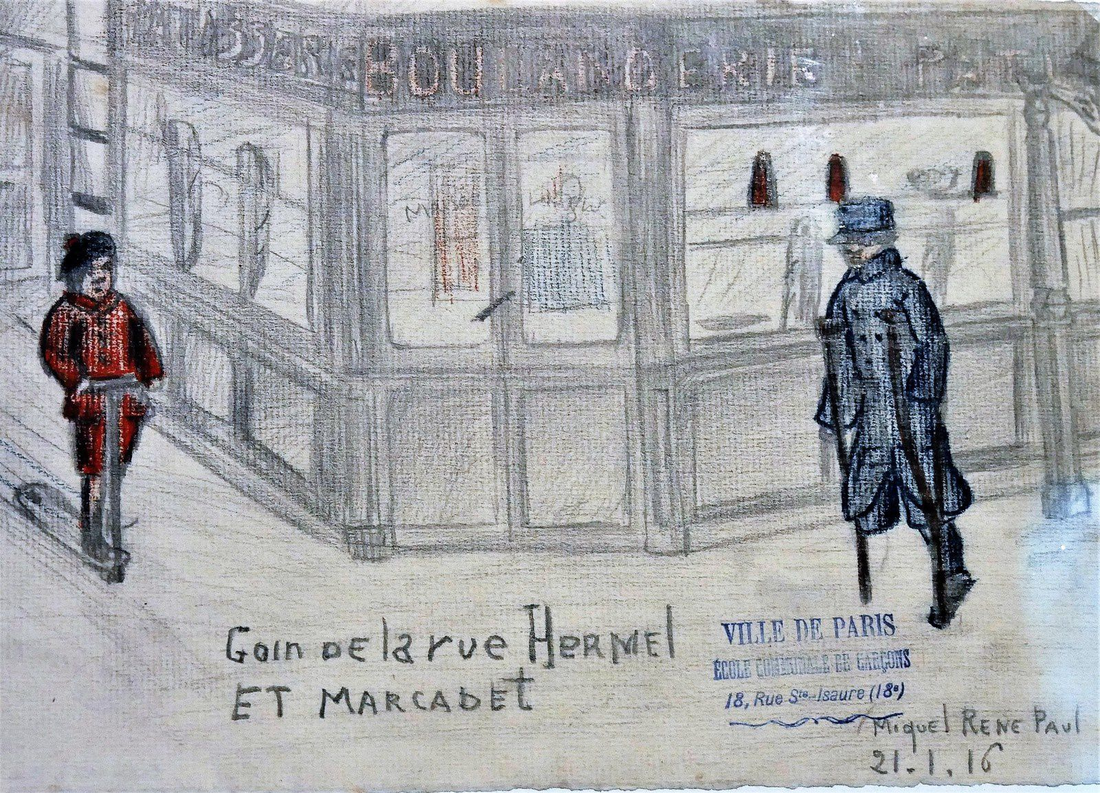 Dessins des enfants de Montmartre pendant la guerre de 14-18. Musée de Montmartre.