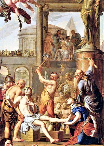 Le martyre d'Adrien. Chef d'oeuvre d'Omer Charlet. Eglise de Marennes.