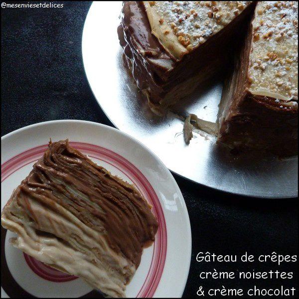Gâteau de crêpes, crème noisette et crème chocolat