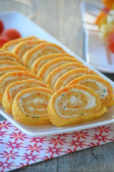 Roulé aux carottes, fromage frais et ciboulette