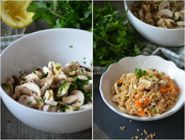 Salade de petit épeautre bio aux champignons de Paris