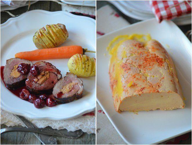 Magret de canard farci au foie gras sur coulis de griottes
