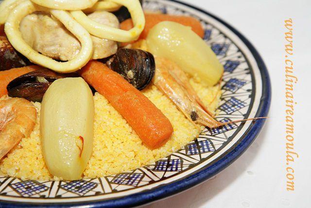 """Couscous de maïs au poisson """"Kasksou Baddaz"""""""