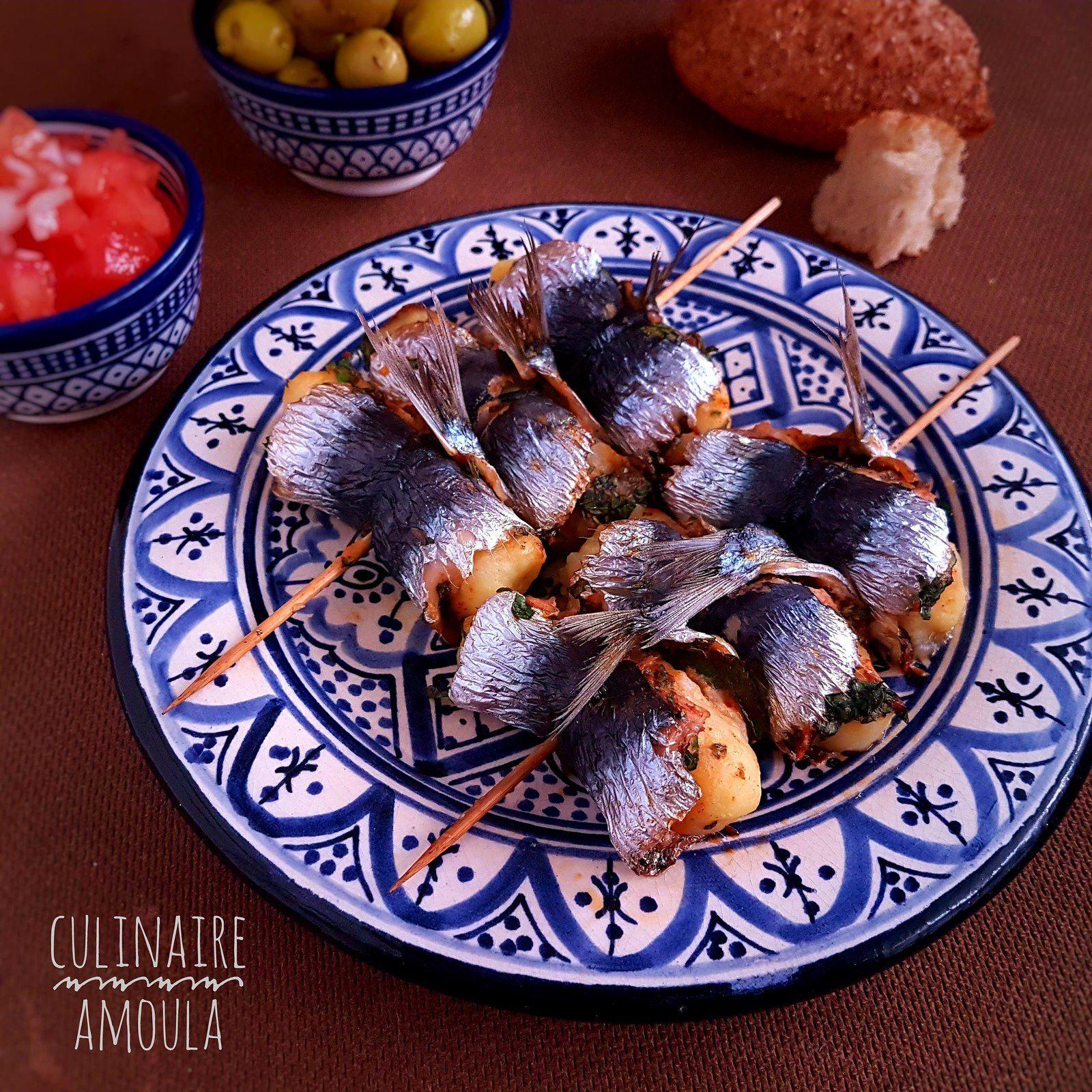Brochettes de sardines roulées  à la  charmoula et aux pommes de terre