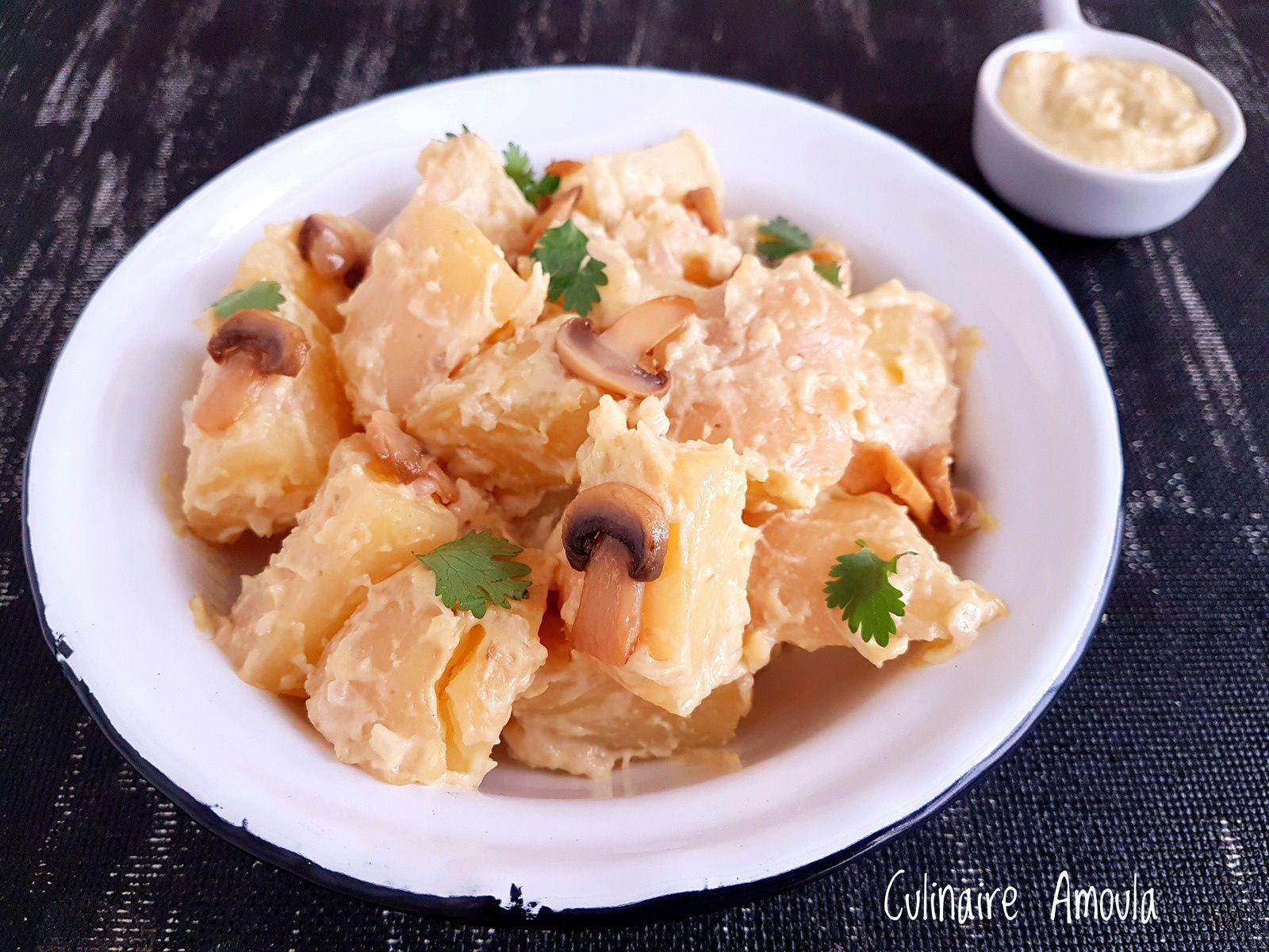 Salade de pommes de terre aux champignons de paris