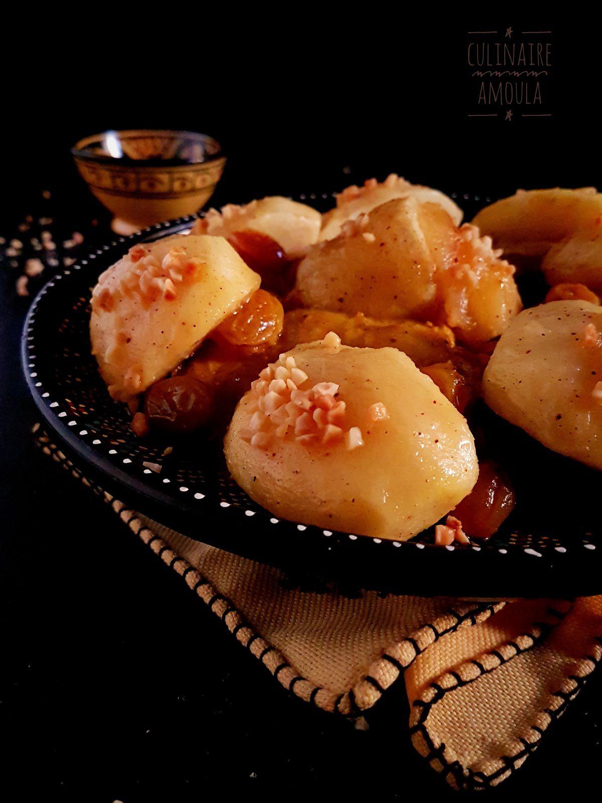 Tajine de poulet aux pommes caramélisées