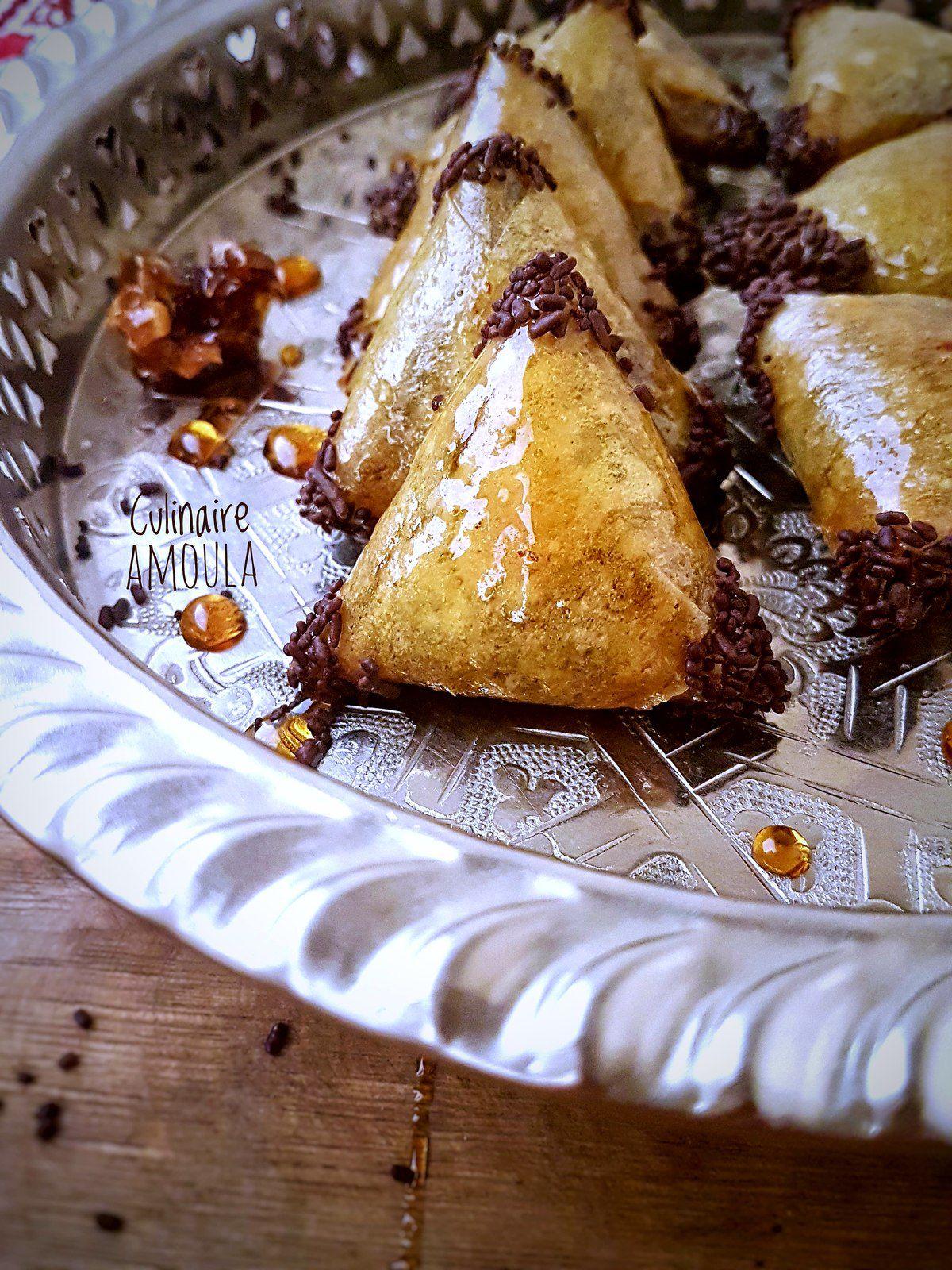 Briouates aux cacahuètes, chocolat et caramel