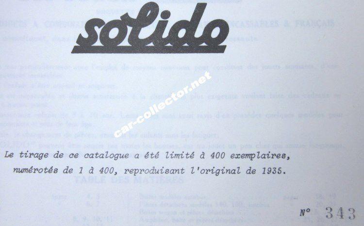 CATALOGUE SOLIDO 1935 - CATALOGO SOLIDO 1935 - KATALOG SOLIDO 1935