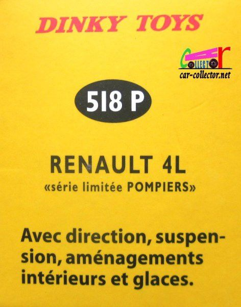RENAULT 4L POMPIERS DINKY TOYS REEDITION ATLAS