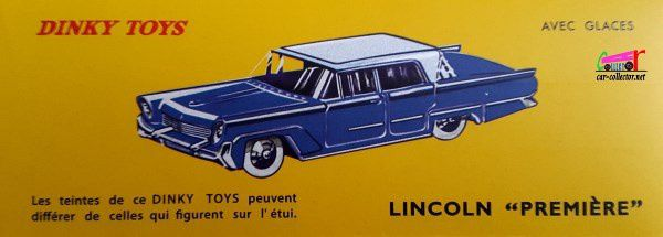 LINCOLN PREMIERE DINKY TOYS REEDITION ATLAS 1/43