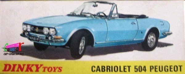 CABRIOLET 504 PEUGEOT BLEU CANARD DINKY TOYS 1/43