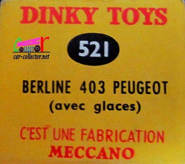 PEUGEOT 403 BERLINE DINKY TOYS FABRICATION MECCANO 1/43.