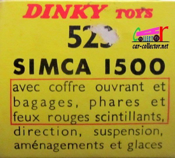 SIMCA 1500 1963 DINKY TOYS MECCANO 1/43