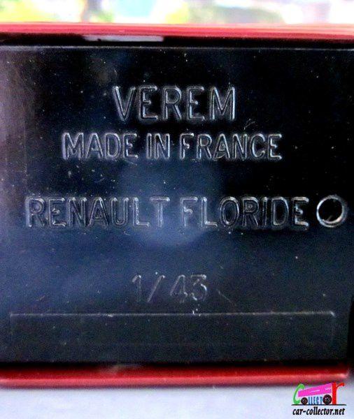 RENAULT FLORIDE CABRIOLET BORDEAUX HARD TOP 1959 VEREM 1/43