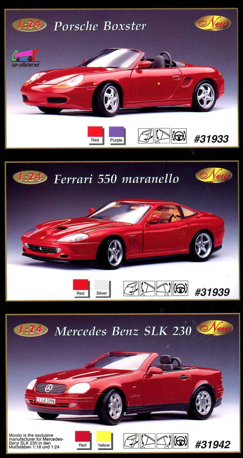 ferrari-f550-maranello-red-silver-porsche-boxster-purple-mercedes-slk-230-yellow-maisto