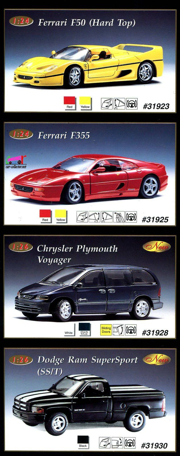 ferrari-f355-chrysler-plymouth-voyager-dodge-ram-supersport-sst-maisto-1-24