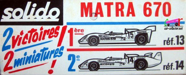 MATRA SIMCA 670C 1972 COURTE HENRI PESCAROLO ET GRAHAM HILL SOLIDO 1/43