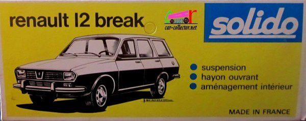 RENAULT 12 BREAK 1972 SOLIDO 1/43