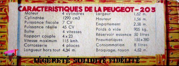 PEUGEOT 203C LUXE 1954 NOREV 1/43