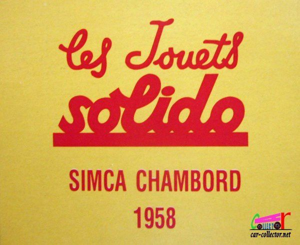 FASCICULE N°28 SIMCA CHAMBORD 1958 SOLIDO 1/43.