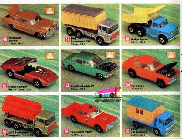 catalogue-matchbox-1971-allemagne-page-26-mercedes-300-se-dodge-charger-mk3-ford-zodiac-ford-capri-daf-transporter