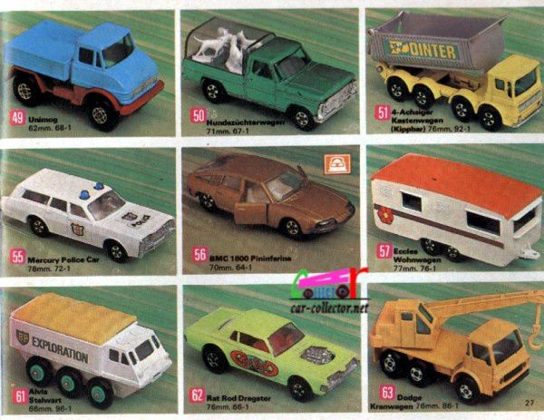 catalogue-matchbox-1971-allemagne-page-27-mercedes-unimog-mercury-police-car-bmc-1800-pininfarina-rat-rod-dragster