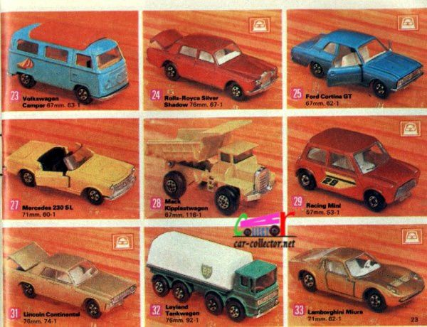 catalogue-matchbox-1971-allemagne-page-23-volkswagen-camper-mercedes-230-sl-racing-mini-camion-mack-rolls-royce-silver-shadow-ford-cortina-gt-lincoln-continental-lamborghini-miura
