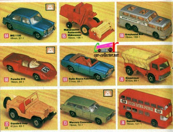 catalogue-matchbox-1971-allemagne-page-28-mg-1100-greyhound-porsche-910-rolls-royce-cabriolet-jeep-mercury-commuter-daimler-bus