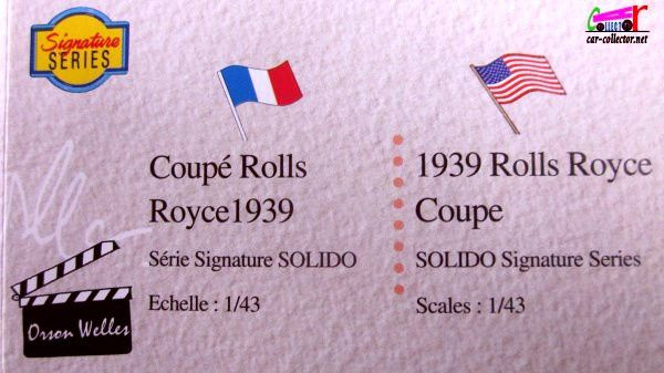 ROLLS-ROYCE PHANTOM III 1939 ORSON WELLES SOLIDO SIGNATURE 1/43.