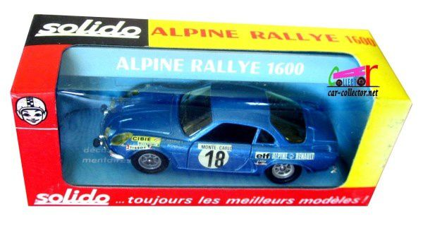 RENAULT ALPINE RALLYE 1600 A110 BERLINETTE TOUR DE FRANCE 1973 SOLIDO 1/43.