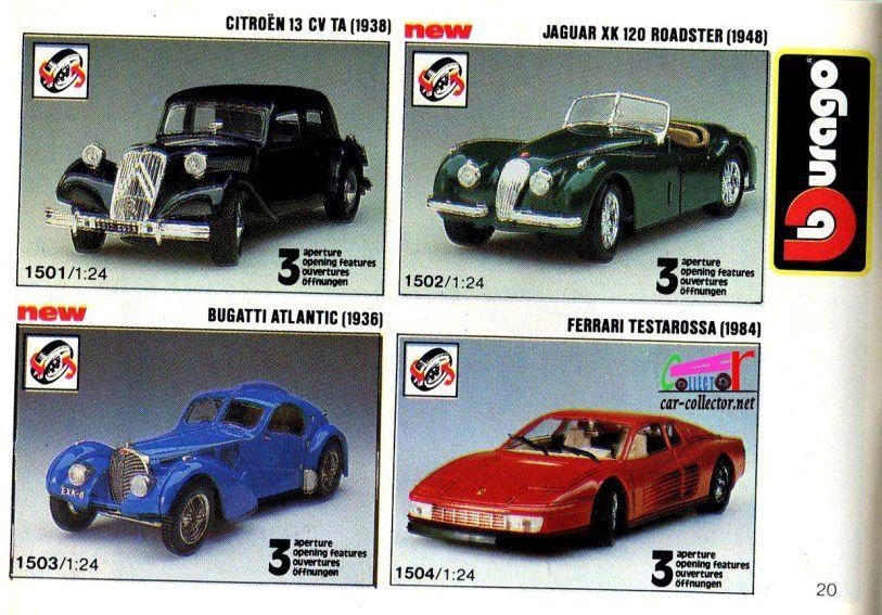 citroen-traction-13cv-1938-jaguar-xk-120-roadster-1948-bugatti-atlantic-1936-ferrari-testarossa-1984-burago-1-24