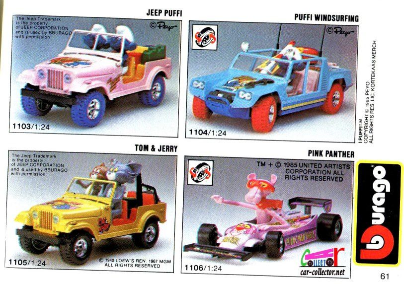 jeep-schtroumpfs-tom-et-jerry-pink-panther-burago-1-24