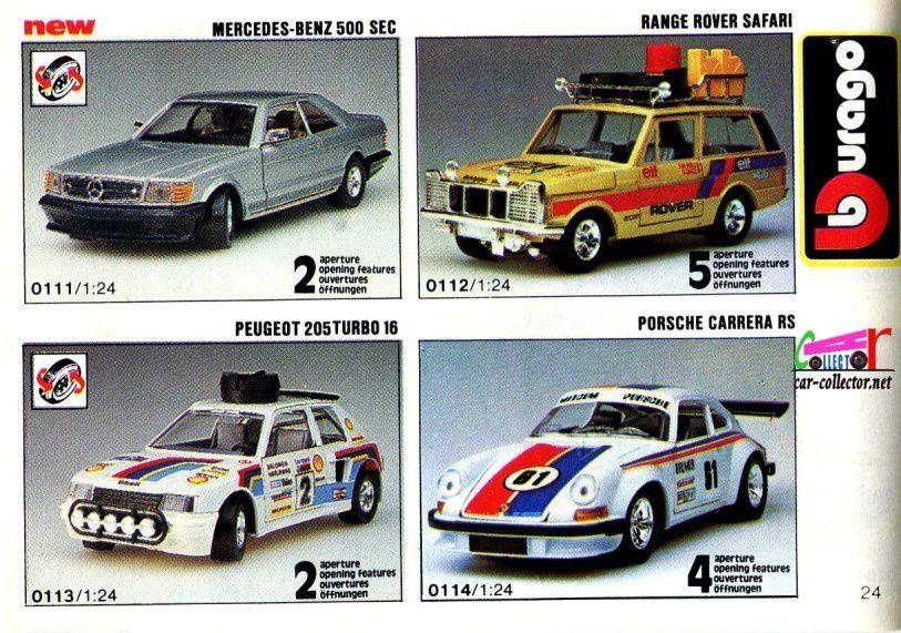 mercedes-500-sec-range-rover-safari-peugeot-205-turbo-16-porsche-carrera-rs-burago-1-24