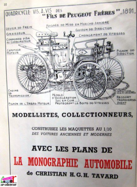 repertoire-mondial-des-automobiles-miniatures-geo-ch-veran-world-directory-of-models-cars-monographie-quadricycle-peugeot