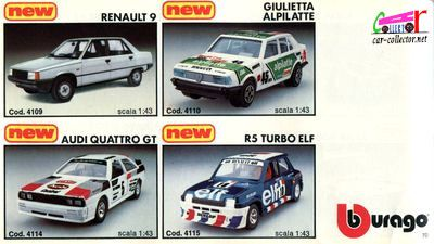 catalogue-burago-1983-catalogo-bburago-1983-catalog-burago-1983-katalog-burago-1983-renault-r9-giulietta-alpilatte-audi-quattro-gt-r5-turbo-elf