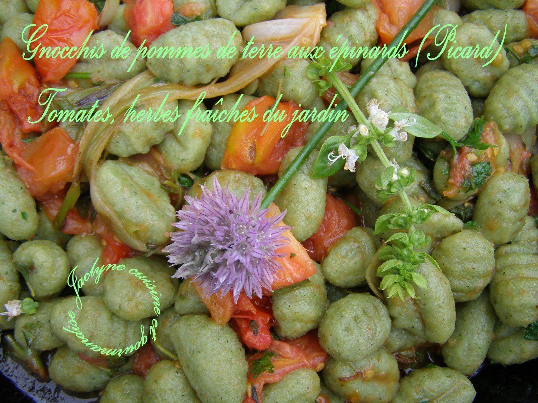 Gnocchis de pommes de terre aux épinards (Picard) et herbes fraîches du jardin Jaclyne cuisine et gourmandise