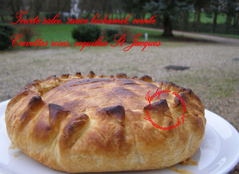 Tourte pâte feuilletée, crevettes roses et coquilles St-Jacques Jaclyne www.cuisineetgourmandise.fr