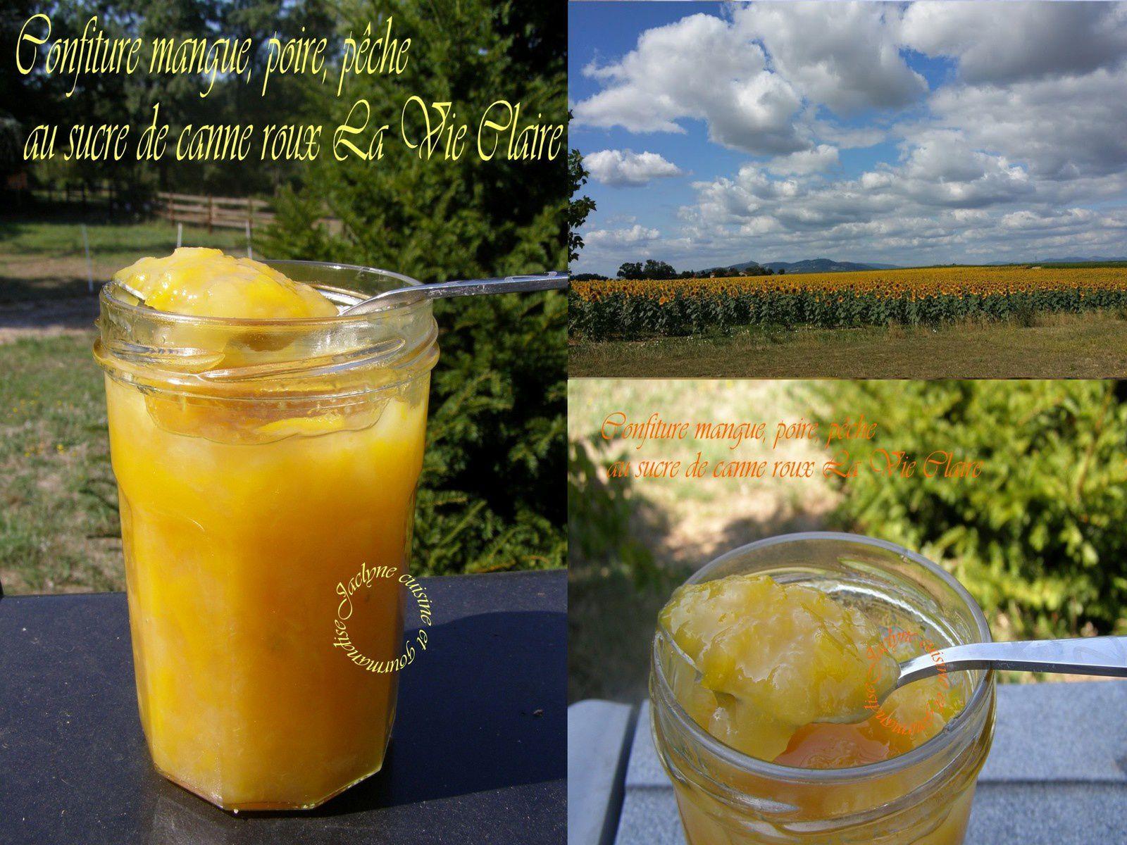 Confiture mangue, poire, pêche au sucre de canne roux La Vie Claire Jaclyne www.cuisineetgourmandise