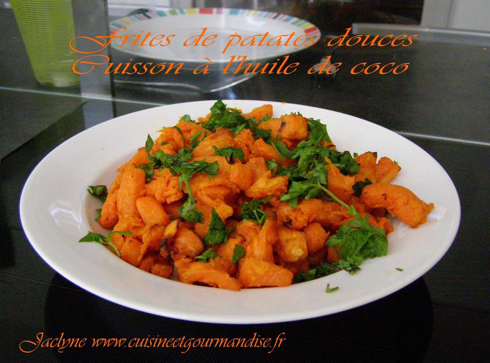 Frites de patates douces, cuisson à l'huile de noix de coco IG bas Jaclyne www.cuisineetgourmandise.fr