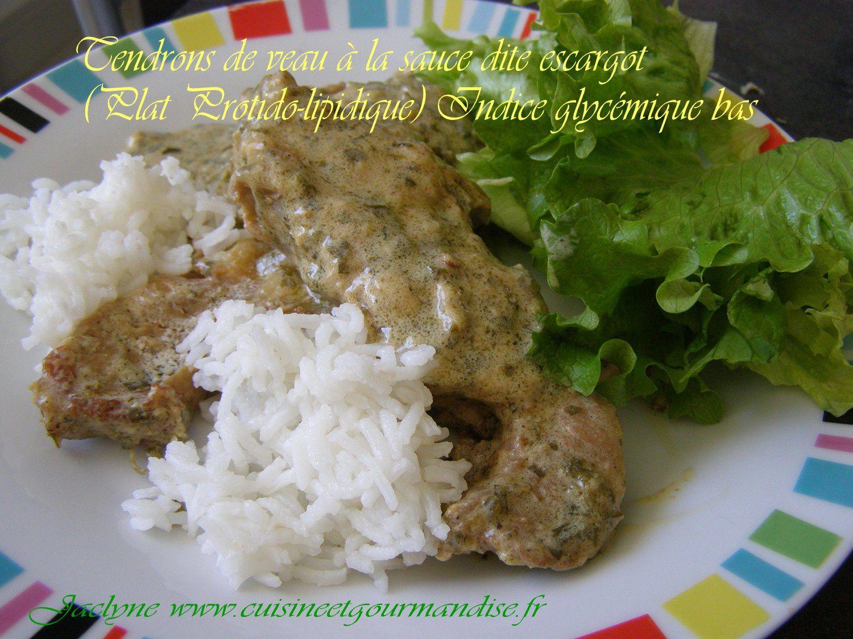 Tendrons de veau à la sauce dite escargot (Plat Protido-lipidique) Indice glycémique bas