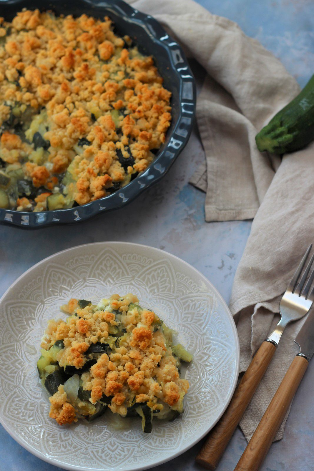crumble courgettes feta