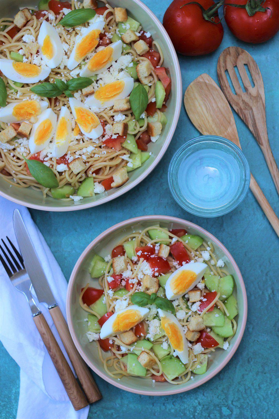 salade spaghetti feta oeufs