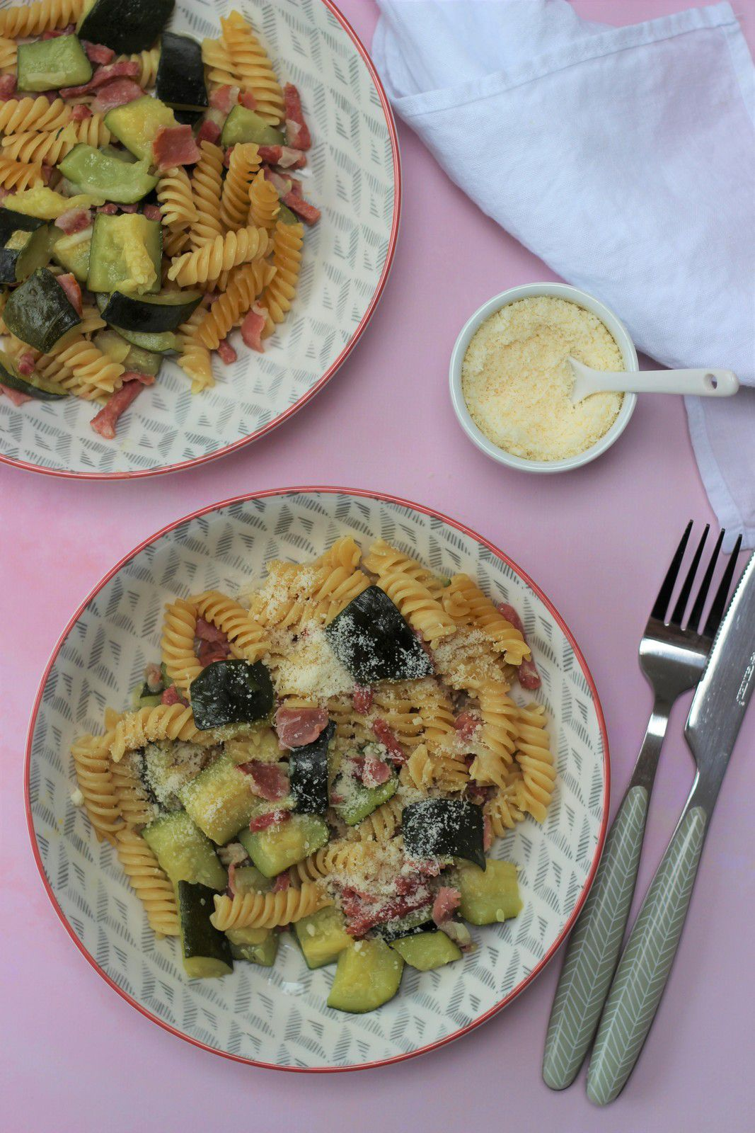 one pot pasta courgettes bacon