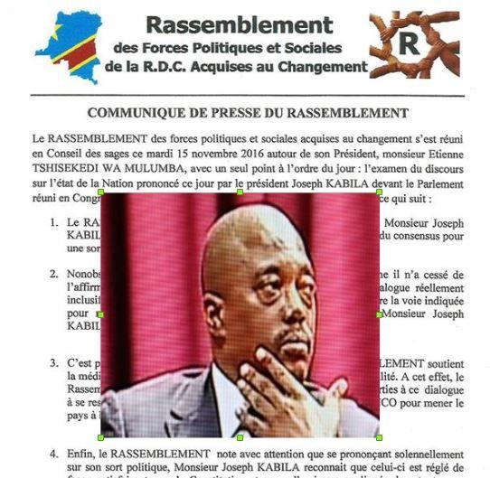 État de la Nation et fin mandat, le «Rassemblement» prend Kabila au mot: 19 décembre,the end